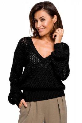 S219 Sweter z dużymi oczkami - czarny