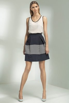 Granatowa spódnica z zakładkami - Sp20