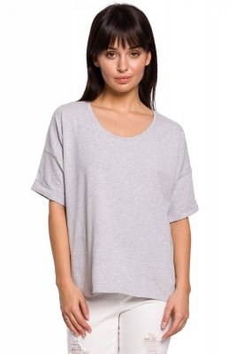 B147 T-shirt oversize z dekoltem i haftem - szary