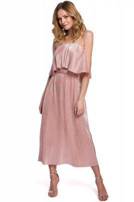 K059 Metaliczna sukienka midi z falbaną u góry - różowa