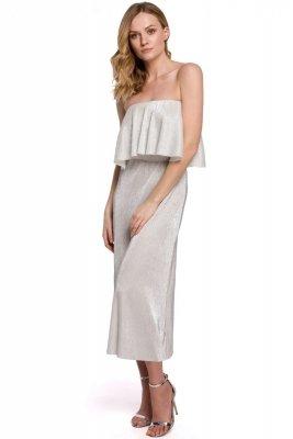 K059 Metaliczna sukienka midi z falbaną u góry - srebrna