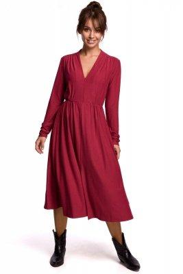 B171 Sukienka rozkloszowana z zamkiem - wiśniowa