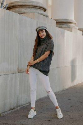Kamizelka swetrowa z golfem LS312 grafit