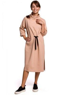 B181 Sukienka midi z ozdobnym wiązaniem - beżowa