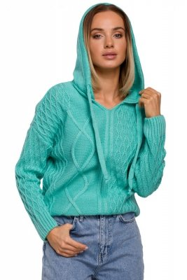 M540 Sweter z kapturem - seledynowy