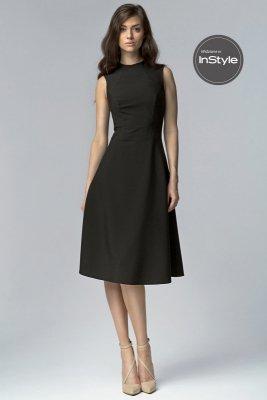 Czarna elegancka sukienka MIDI - S62