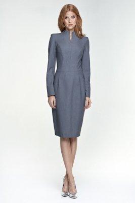 Klasyczna dopasowana szara sukienka - S75