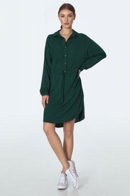Zwiewna zielona sukienka z wiązaniem w talii  - S163