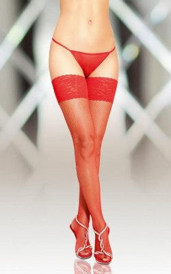 1 Stockings 5537 - red pończochy do paska PROMO