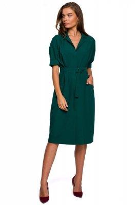 S230 Sukienka z dużymi kieszeniami - zielona