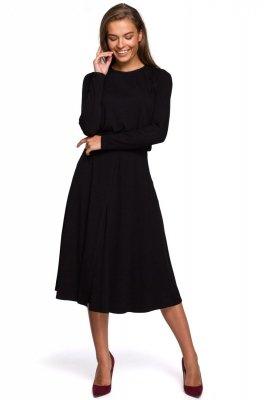 S234 Sukienka z rozkloszowanym dołem - czarna