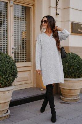 1 Swetrowa sukienka LS301 jasnoszary PROMO