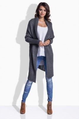 1 LS174 Dłuższy sweterek narzutka grafit PROMO
