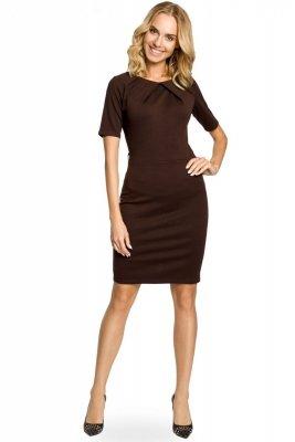 M013 Klasyczna elegancka sukienka ołówkowa - brązowa