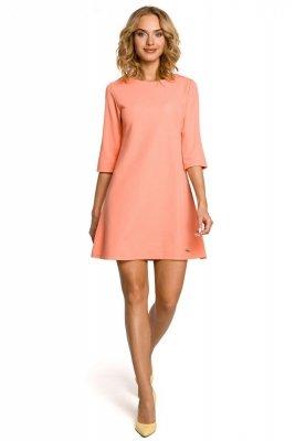M029 Gładka tunika sukienka trapezowa - koralowa