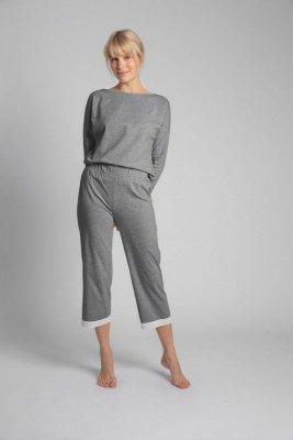 LA041 Spodnie z koronkowym brzegiem - szary