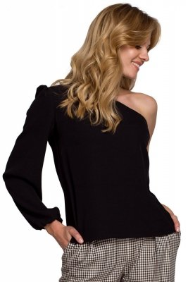 K080 Bluzka na jedno ramię - czarna