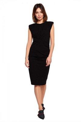 B193 Sukienka z marszczeniami - czarna