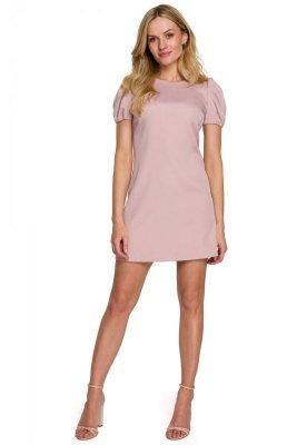 K095 Sukienka mini z krótkimi rękawkami - brudny róż
