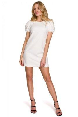 K095 Sukienka mini z krótkimi rękawkami - ecru