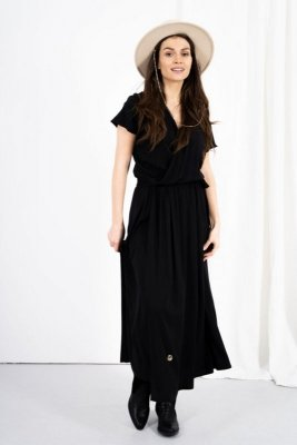 Kopertowa sukienka z rozcięciem LN115 czarny