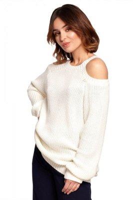 BK069 Sweter z wycięciami na ramionach - ecru