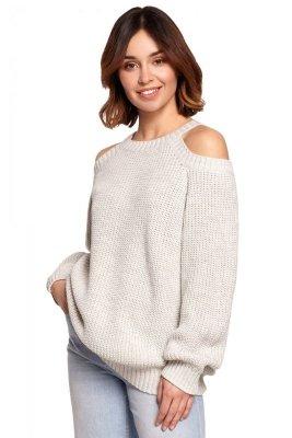 BK069 Sweter z wycięciami na ramionach - popielaty
