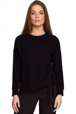 S252 Sweterek z trokami - czarny