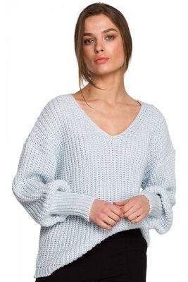 S268 Sweter w serek ze ściągaczem przy rękawach - błekitny