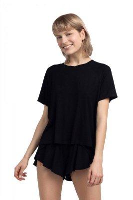 LA044 Wiskozowa bluzka do spania - czarna