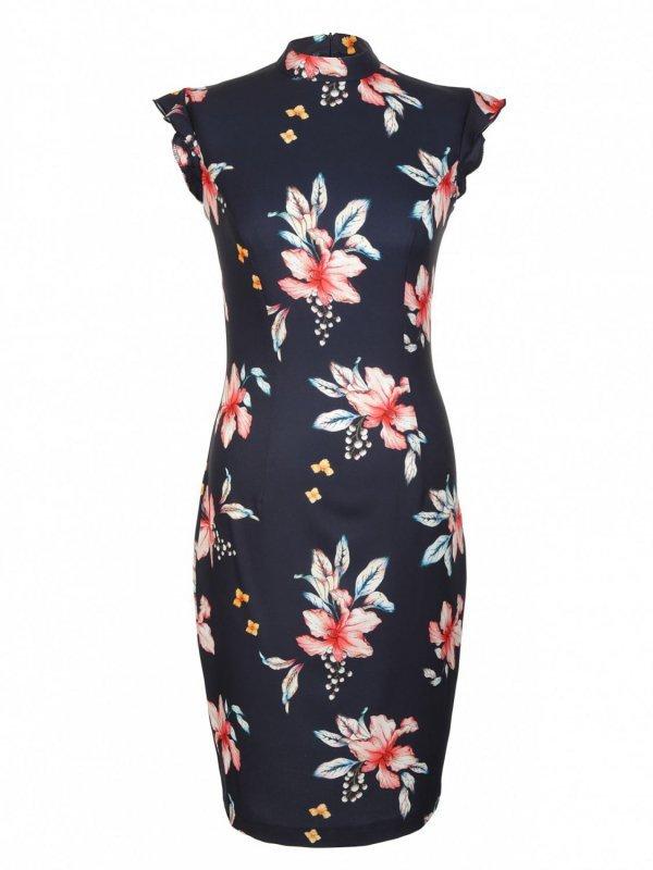 Sukienka z falbankami na ramionach - kwiaty/granat - S108