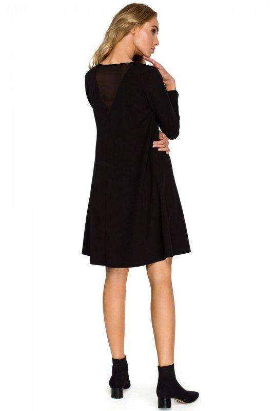 S137 Sukienka rozkloszowana - czarna