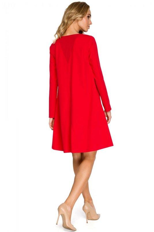 S137 Sukienka rozkloszowana - czerwona