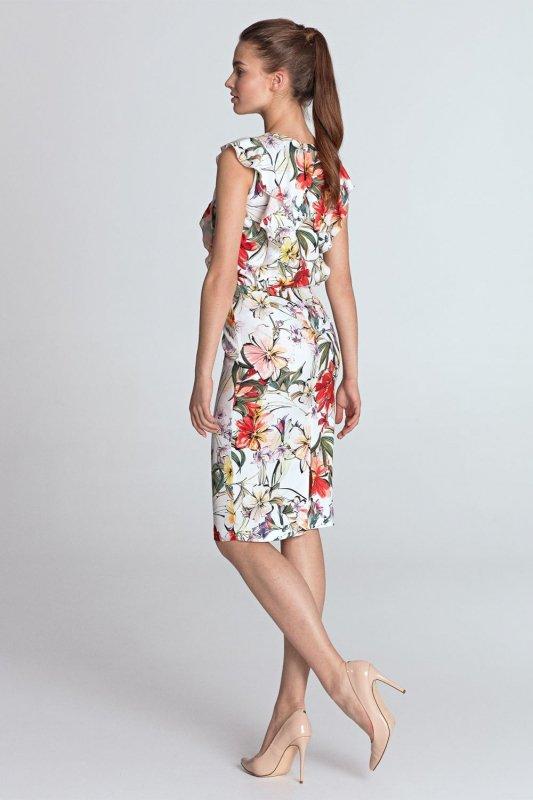 Sukienka ołówkowa z falbanami z przodu - kwiaty/ecru - S117