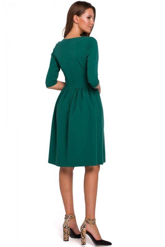 K010 Sukienka rozkloszowana - zielona