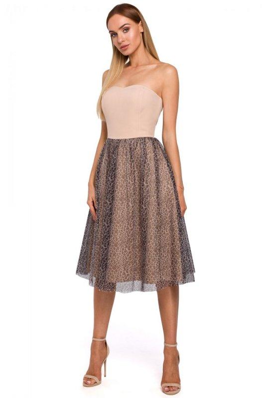 M482 Sukienka gorsetowa z tiulem w panterke - beżowa