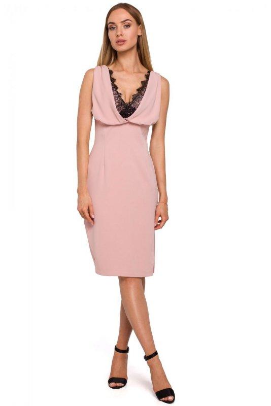 M486 Sukienka z koronkową wstawką w dekolcie - pudrowa