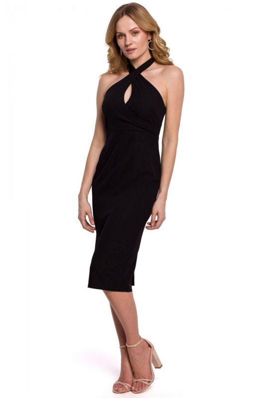 K043 Sukienka wiązana wokół szyi - czarna