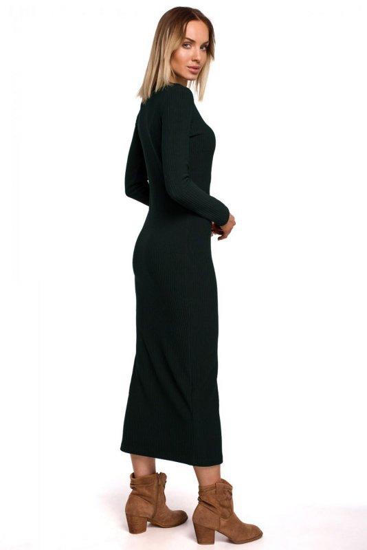 M544 Sukienka maxi z rozcięciem na nogę - zielona