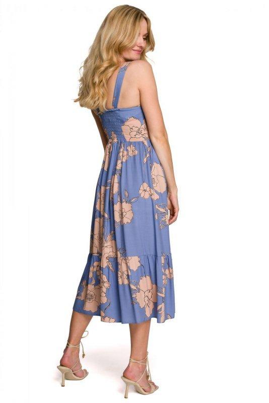 K098 Sukienka midi bez rękawów - model 1
