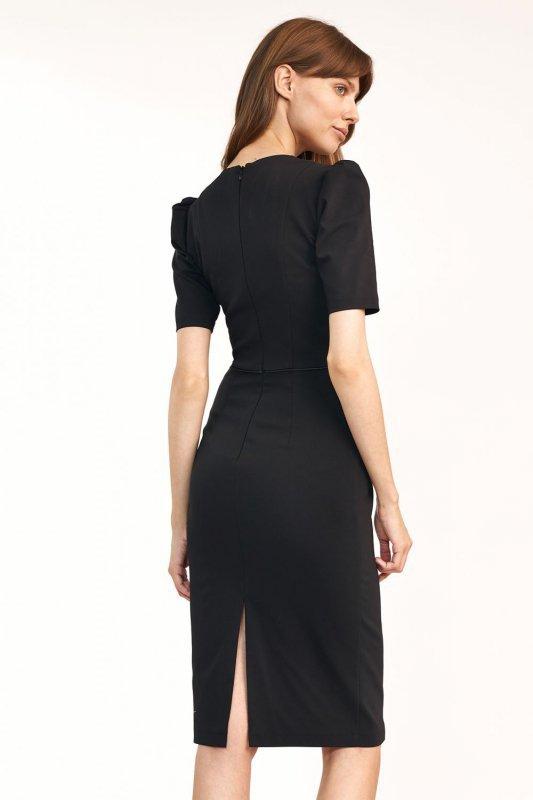 Klasyczna sukienka z guzikami w kolorze czarnym - S195