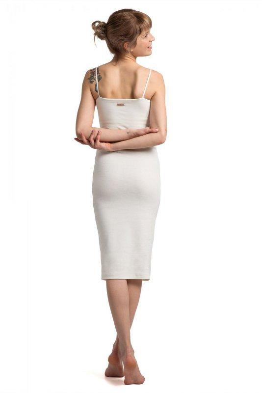 LA062 Sukienka na cienkich ramiączkach - ecru
