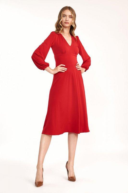 Klasyczna czerwona sukienka midi - S194