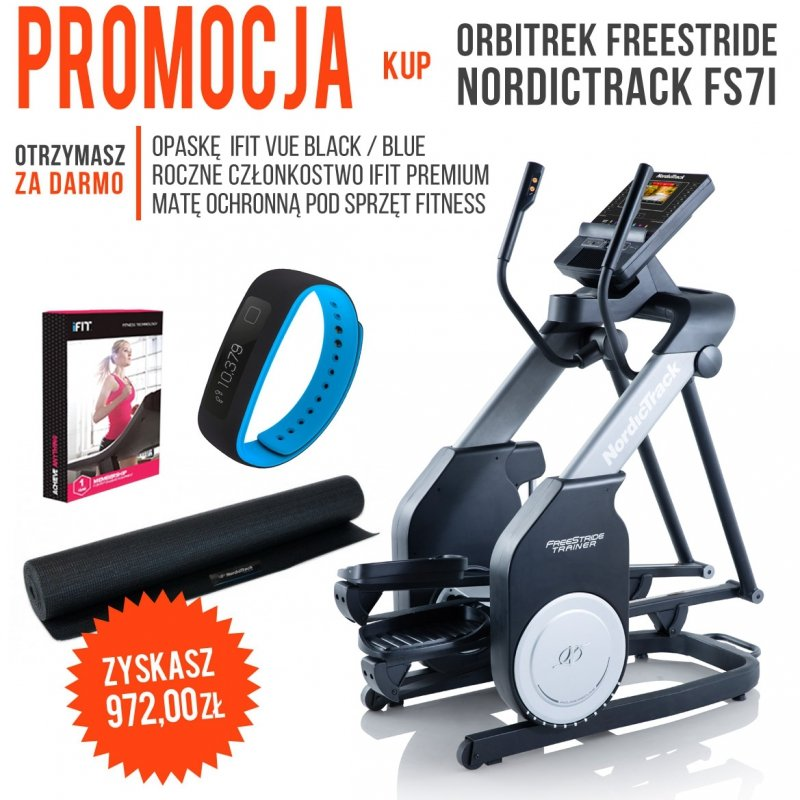 Orbitrek FreeStride FS7i + członkostwo + mata + opaska