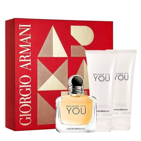 Giorgio Armani Because It's You Set - Eau de Parfum 50 ml + Body Lotion 75 ml + Shower Gel 75 ml