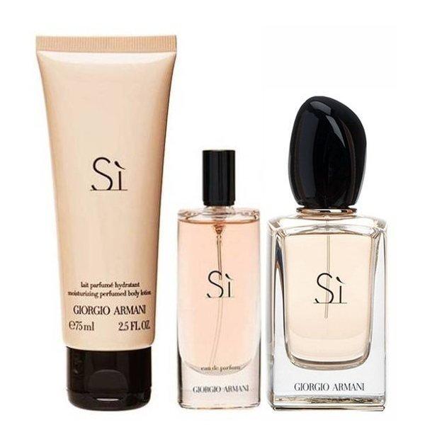 Giorgio Armani Si Set - Eau de Parfum 50 ml + Eau de Parfum 15 ml + Body Lotion 75 ml