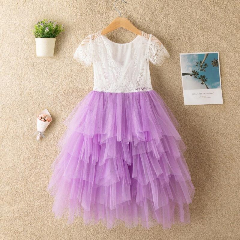 Sukienka Boho Wróżka krótki rękawek fioletowa