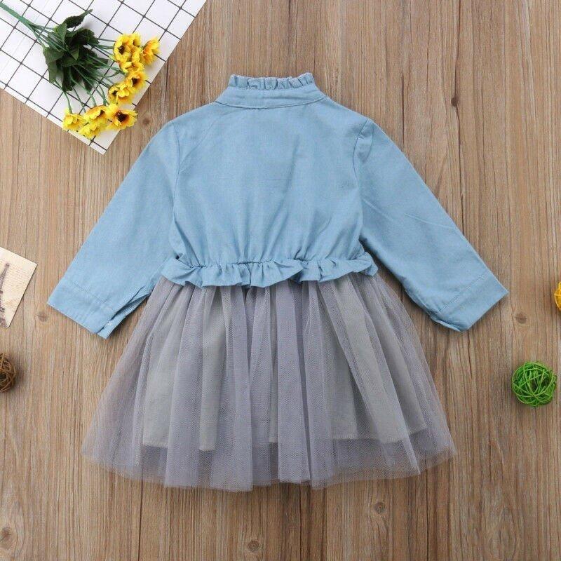 Jeansowo tiulowa sukienka
