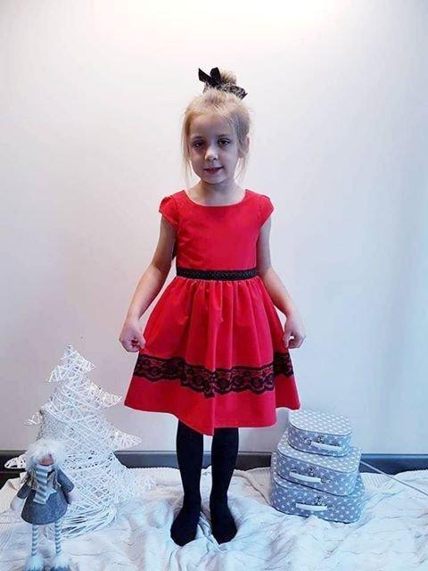 Sukienka czerwona świąteczna Alicja
