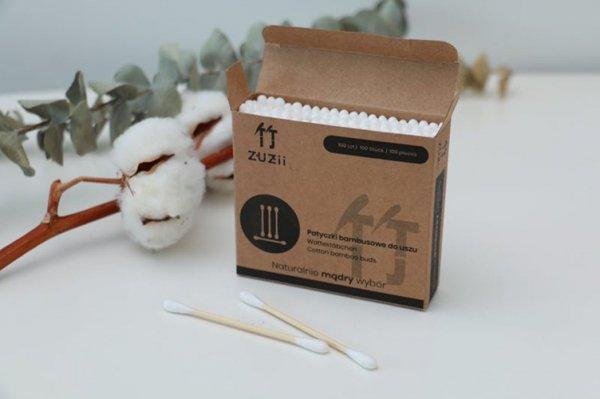 ZUZII Bambusowe patyczki kosmetyczne do uszu z bawełną
